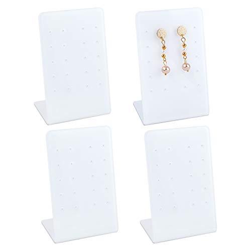 FINGERINSPIRE 4 soportes de acrílico para pendientes (10 pares de pendientes/sostenedores rectangulares inclinados de cristal orgánico para exhibición de joyas (10,8 x 7 x 5 cm), color blanco