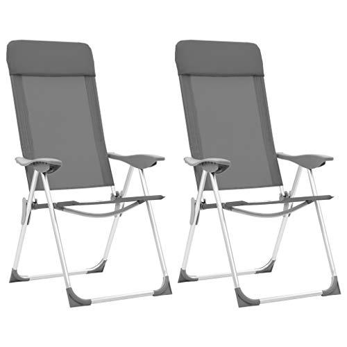 vidaXL 2X Chaise de Camping Pliable Gris Aluminium Siège de Camping Plage