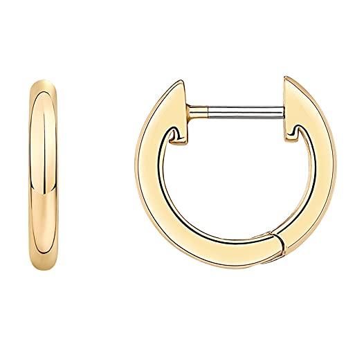 PAVOI 14K Yellow Gold Plated Cuff Earrings Huggie Stud   Small Hoop Earrings for Women