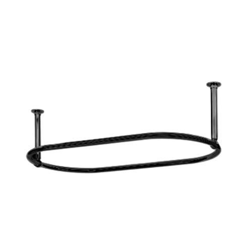 Luxury Barra de Cortina de Ducha Ovalada de Color Negro Mate Tradicional con Forma Ovalada de Color Antracita, 1100 x 640 mm