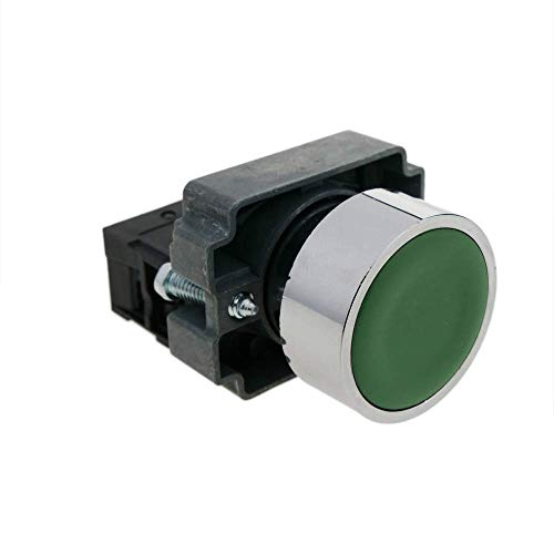 BeMatik - Pulsador momentáneo 22mm 1NC 400V 10A Normal Cerrado Verde