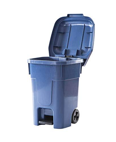 Contenedor de Residuos 60 L, 46x52x65, Cubo Basura, Ruedas y Pedal (Verde)