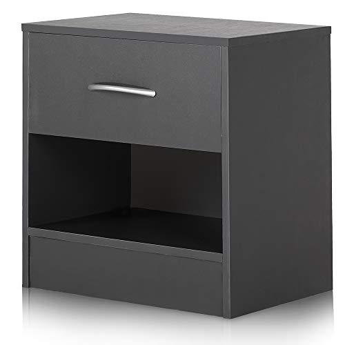 Deuba Nachttisch mit Schublade und Ablagefach 41 x 39 x 28 cm Holz Nachtkommode Nachtkonsole Nachtschrank Schlafzimmer - Grau