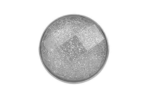 Magnetbrosche, Clip, Schmuckanhänger aus Edelstahl, 30mm, handgefertigt, grau mit Glitzer