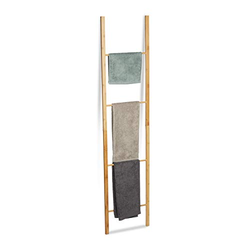 Relaxdays Toallero Escalera Plegable con 4 Barras, Bambú, Marrón Natural, 180 x 42 x 2 cm