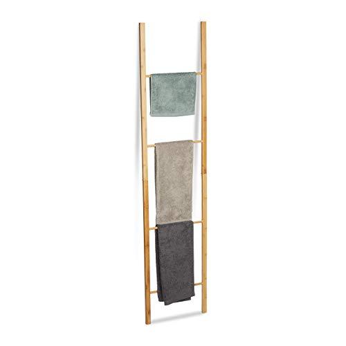 Relaxdays Bambus Handtuchleiter, klappbar, 4 Handtuchstangen, Handtuchständer zum Hinstellen, HBT 180 x 42 x 2 cm, Natur, Größe