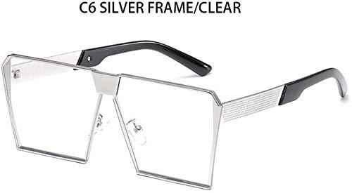 ZYIZEE Gafas de Sol Negras cuadradas de Gran tamaño para Mujer Gafas de Sol a la Moda para Mujer Gafas de Sol Grandes y Transparentes para Hombre Gafas Planas Transparentes-C6_Silver_Frame_Clea