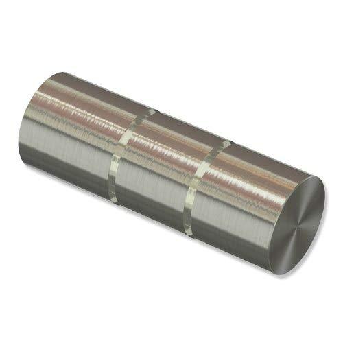 INTERDECO Endstücke Rillenzylinder Edelstahl-Optik aus Metall für Gardinenstangen 20 mm Ø (2 Stück)