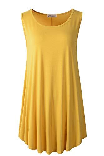 LARACE Women Solid Sleeveless Tunic for Leggings Swing Flare Tank Tops (1X, Yellow)