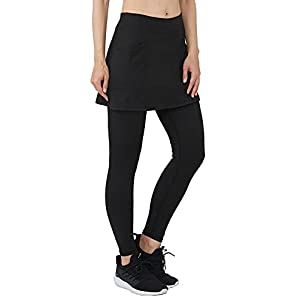 slimour Women Leggings with Skirt Attached Tennis Skirt with Leggings Golf Skirts with Leggings Exercise Skirts Hiking Black Pockets S