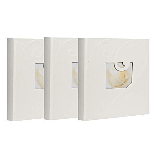 Lote de 3 álbumes de fotos con fundas blancas para 200 fotos de 10 x 15 cm por álbum