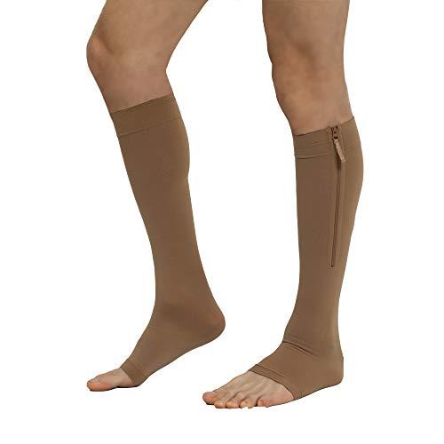 Zippered Compression Stockings Women Men Open Toe Toeless 20-30mmHg, YKK Side Zippers Knee High Support Hose Socks Sleeves Plus Size Graduated Medical Fit for Running Flight Nurses (Beige XXL)