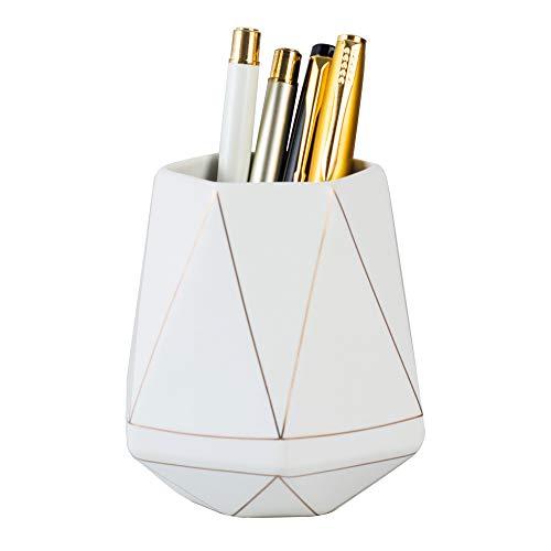 YOSCO Ceramic Desk Cute Pen Holder Stand Gold Line Pencil Cup Pot Desk Organizer Makeup Brush Holder...
