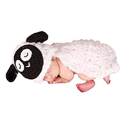 AKAAYUKO Bebé Recién Nacido Hecho A Mano Crochet Foto Fotografía Prop (Ovejas Blancas)