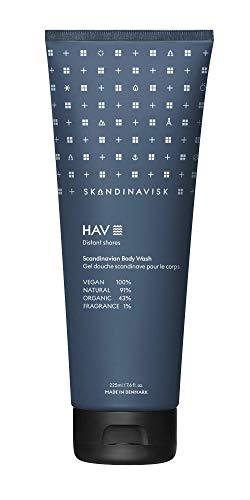 Skandinavisk HAV 'Meer' Organic Duschgel. Duftnoten: Salziges Sprühwasser (Gischt) und Seegras, Weißdorn und Strandrose. Vegane Formel. 225 ml.
