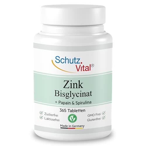 Zink Tabletten - 25mg elementares Zink aus bioverfügbares Zink Bisglycinat (Zink Chelat Komplex) - 365 vegane Zink Tabletten - Laborgeprüft und hergestellt in Deutschland