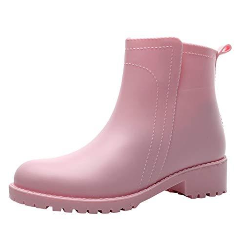Damen Gummistiefel Kurze Regenstiefel Bequeme Stiefeletten Kurzschaft Stiefel Frauen Regenschuhe wasserdichte Gummistiefeletten Celucke (Pink, 40 EU)