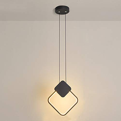 Temgin Lámpara Cuadrado Aluminio LED Negro Luz colgante 13W Altura ajustable Lámpara...