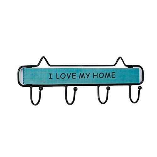VOSAREA Perchero de pared con J'aime MA casa para perchero toallas, sombrero (azul)