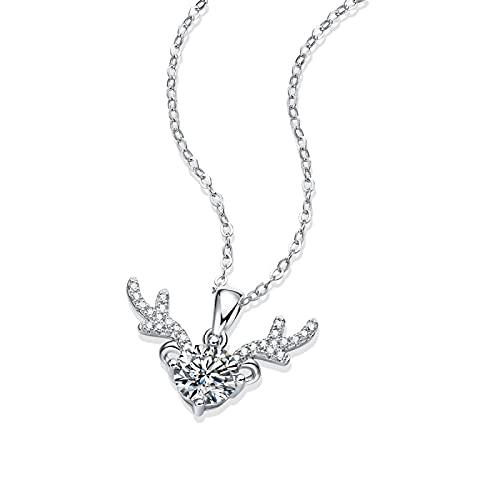 xu Collar de Plata 925 con Colgante de Moissanite, Colgante de ángel, Cadena de clavícula, Verano, Verano