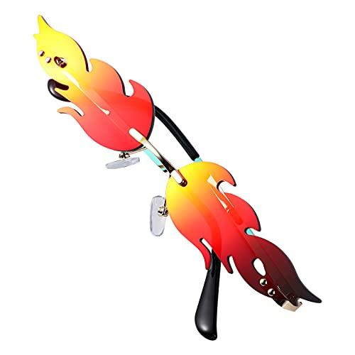 NUOBESTY 1 par de gafas de sol con llamas, gafas de sol de moda, sin bordes, estrechas, para piscina, verano, Hawaii, playa, fiesta, para mujeres y niñas (rojo)