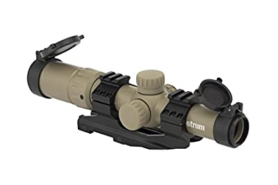 Monstrum Tactical 1.5-4x Tactical Rifle Scope with Range Finder Reticle and One-Piece Offset Mount
