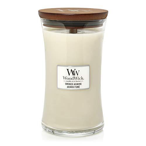 Große WoodWick Duftkerze im Sanduhrglas mit knisterndem Docht, Smoked Jasmine, bis zu 130 Stunden Brenndauer