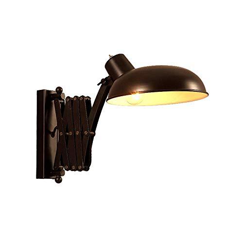 YUNTAO Lámparas decorativas Lámpara de pared de época industrial cubierta de pantalla E27 Negro de metal ligero de pared ajustable y flexible de rotación de la lámpara de lectura lámpara de pared for