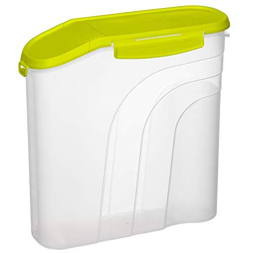 Rotho Fresh Vorratsdose 4.1l mit aromadichtem Deckel und Schüttöffnung, Kunststoff (PP) BPA-frei, transparent/grün, 4,1l (26,5 x 10,0 x 26,0 cm)