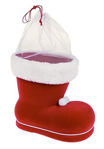 Idena 8550022 - Nikolausstiefel, Rot, Nikolaus, zum Befüllen, Geschenk, Verpackung, Weihnachten