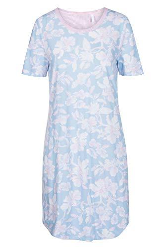 Rösch Nachthemd Damen Kurzarm Gemustertes Bigshirt mit Schleifen-Detail in 3 pastelligen Farbdruckkombinationen aus Reiner Baumwolle, Gr. 36-50, 1884170 50 Arctic Blue