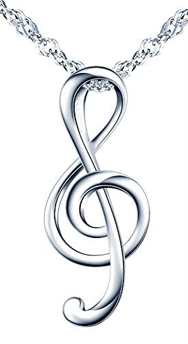 MicVivien Collana e Orecchini per Donna Argento 925 Nota Musicale con Zirconia Cubica Chiave di Violino Set di Gioielli per Mamma Donne Ragazze