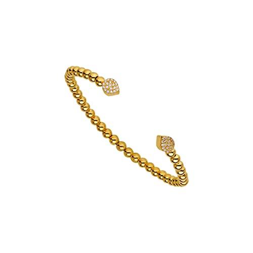Pulsera apilable de plata de ley 925 chapada en oro de 14 quilates, 2 circonitas cúbicas transparentes con circonitas cúbicas de imitación de diamante en forma de lágrima, joyas para mujeres