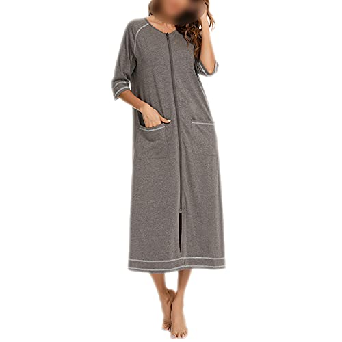Bathrobe – Camisa de noche a rayas – Albornoz para mujer – Vestido largo otoño – Camisa de noche – Kimono gris oscuro L