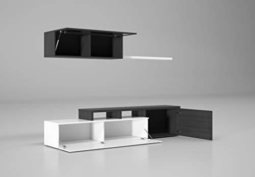 Esidra Mobile TV Basso 1 pensile con Anta e mensole, 200 x 44 x 41 cm