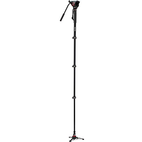 Manfrotto Xpro Aluminum Video Monopod with 500 Series Video Head, Bundled with Extra ZAYKIR Video Plate
