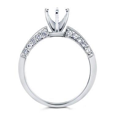 1.25 ct Ladies Round & Princess Cut Diamond Semi Mount Ring in Platinum in Size 7.5
