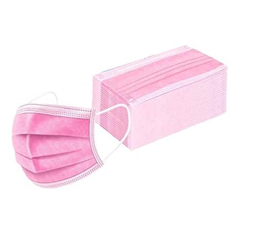 ANTIVIR ON Masken Mundschutz 100 stück Pink Masken Mundschutz 100 stk. CE Zertifiziert - Mundschutz Einweg Maske Masken Gesichtsmaske Mund Nasen Schutzmasken für Erwachsene