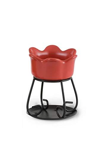 YANKEE CANDLE 1285729 Bruciatore per Tartine Petal Bowl, Ceramica, Rosso, 11.5x17.7x11.9 cm