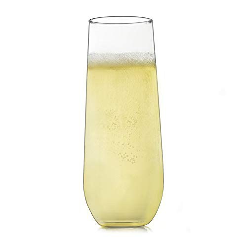 Libbey Stemless Champagne Flute Glasses, Set of 12, Clear, 8.5 oz - 228