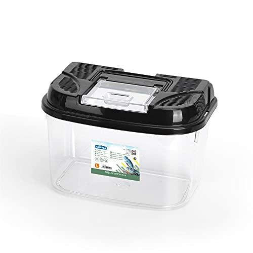 Nobleza Caja de Alimentación de Reptiles y Anfibios,Terrario de Plástico Transparente, Diseño de Ventilación y Prevención de Escape,Talla L(28 * 18 * 18cm)