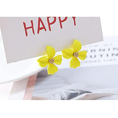 LOKILOKI Nuevos Pendientes De Clip con Forma De Flor Sin Perforaciones para Mujer, Fiesta De Cumpleaños, Elegantes Pendientes De Puño Llamativos, Sin Pendientes