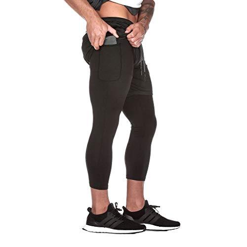 Minikimi MäNner Sportbroek voor heren, 2-in-1 shorts met korte loopbroek voor mannen, fitness, hardloopbroek, sportbroek, trainingsbroek maat M-2Xl