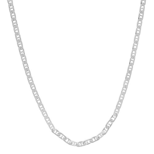 1.8mm High-Polished .925 Sterling Silver Flat Mariner Chain Necklace, 30 inches + Jewelry Cloth & Pouch