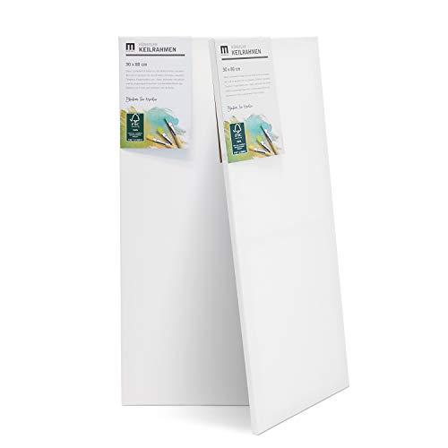 3er-Set 30x80cm Künstler-Leinwand Canvas zum Bemalen. Die Leere, weiße Leinwand aus 100% Baumwolle ist umlaufend aufgespannt auf FSC® Holz-Keilrahmen mit 17mm Stärke, 280g/m², 2-Fach weiß grundiert