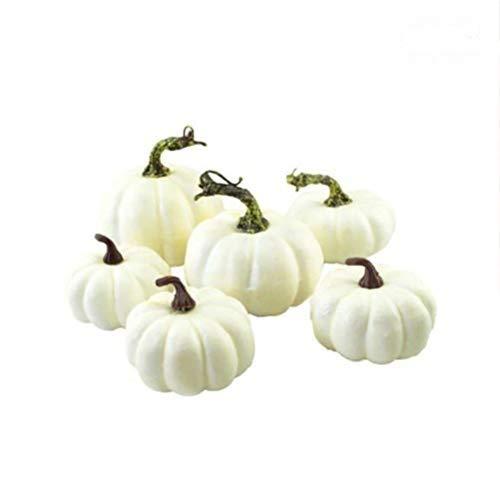 Oyria 6 Stück künstliche Kürbisse Weiße Kürbisse Herbst Halloween Weihnachten Zuhause Tischdekoration