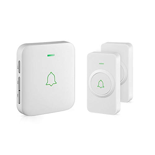 Wireless Door Bell, AVANTEK CW-21 Mini Waterproof Wireless Doorbell Operating at Over 1000 Feet, 2 Remote Buttons Can Have Different Tones, 52 Melodies, CD Quality Sound and LED Flash