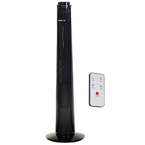 HOMCOM Ventilador Torre con Mando a Distancia y 3 Ajustes de Velocidad Temporizador hasta 7,5h Oscilante en 70° Potencia 50W Ф27x92cm Negro