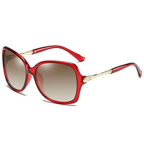 NgMik Gafas De Sol Polarizadas De Las Mujeres Gafas De Sol Polarizadas Marco Grande del Espejo De Conducción del Espejo Antideslumbrante De Compras Clásico (Color : Red, Size : One Size)