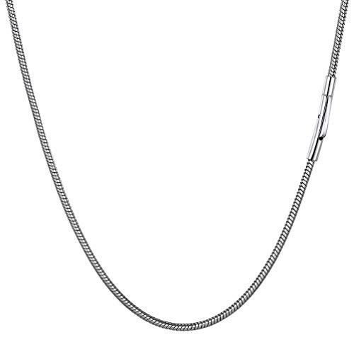 PROSTEEL 46cm Cadenas Serpiente de Cuello Cortas para Hombre, Collar Acero de Eslabones Redondos